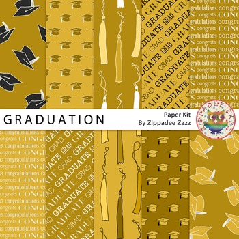 Digital Paper - Gold Graduation / End of School - 10 Papers