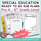 Special Education Sub Plans Bundle for K-5 SPED & Resouece