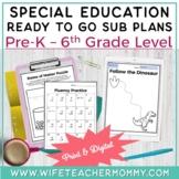 Special Education Sub Plans Bundle for K-5 SPED & Resouece