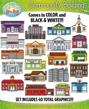 Community Buildings Clipart Set — Includes 40 Graphics!