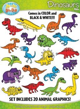 Rainbow Dinosaur Clipart Set — Includes 40 Graphics!
