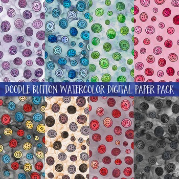 Watercolor Doodle Button Digital Paper