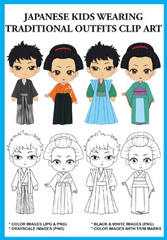 Japanese Kids wearing Traditional Outfits Clip Art