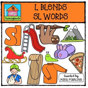 L Blends SL words {P4 Clips Trioriginals Digital Clip Art}