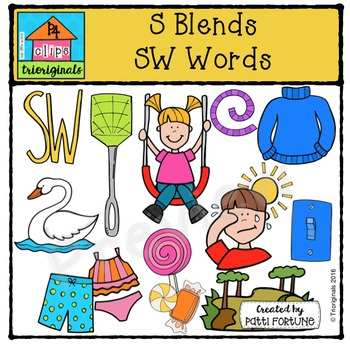 S Blends SW words {P4 Clips Trioriginals Digital Clip Art}