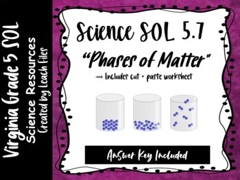 SOL 5.4A PHASES OF MATTER WORKSHEET