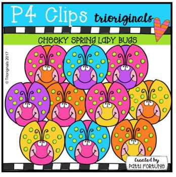 P4 CHEEKY Spring Ladybugs (P4 Clips Trioriginals Clip Art)