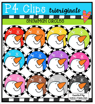 P4 CIRCLES Snowmen (P4 Clips Trioriginals Digital Clip Art)
