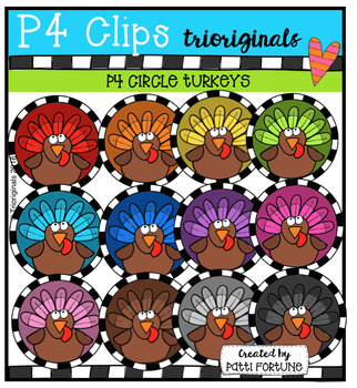 P4 CIRCLES Turkeys (P4 Clips Trioriginals Digital Clip Art)