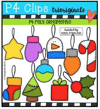 P4 FELT Ornaments (P4 Clips Trioriginals Digital Clip Art)