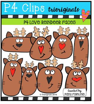 P4 LOVE Reindeers (P4 Clips Trioriginals Digital Clip Art)