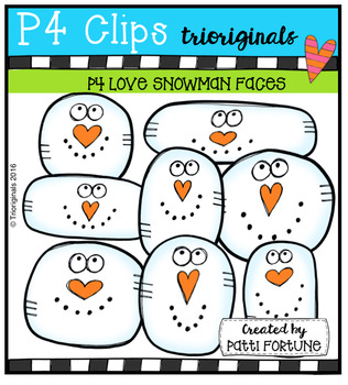P4 LOVE Snowmen Heads (P4 Clips Trioriginals Digital Clip Art)