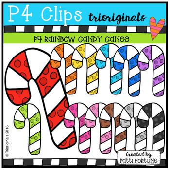 P4 RAINBOW Candy Canes (P4 Clips Trioriginals Digital Clip Art)