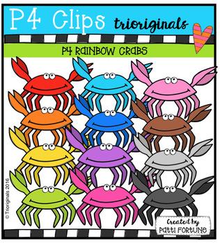 P4 RAINBOW Crabs (P4 Clips Trioriginals Digital Clip Art)
