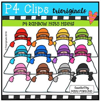 P4 Snow KIDs Hiding (P4 Clips Trioriginals Digital Clip Art))