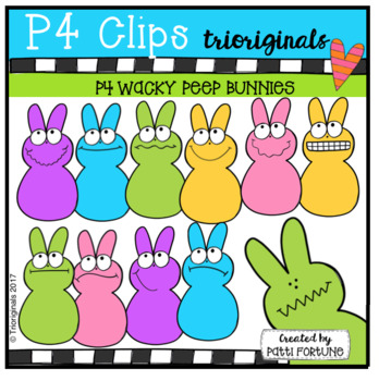 P4 WACKY Peep Bunnies (P4 Clips Trioriginals Clip Art)