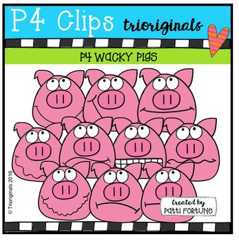 P4 WACKY Pig Faces (P4 Clips Trioriginals Digital Clip Art)