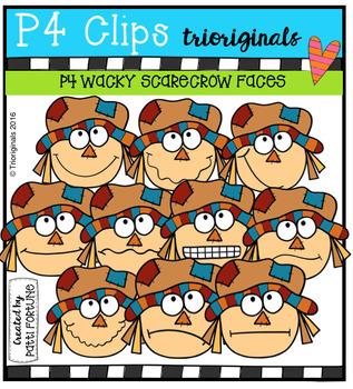 P4 WACKY Scarecrow faces (P4 Clips Trioriginals Digital Clip Art)