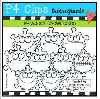 P4 WACKY Snowflake Faces (P4 Clips Trioriginals Digital Clip Art)