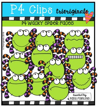 P4 WACKY Spider Faces (P4 Clips Trioriginals Digital Clip Art)