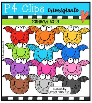 RAINBOW Bats (P4 Clips Trioriginals Digital Clip Art)