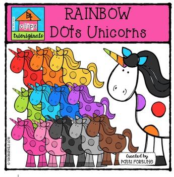 RAINBOW Dots Unicorns {P4 Clips Trioriginals Digital Clip Art}