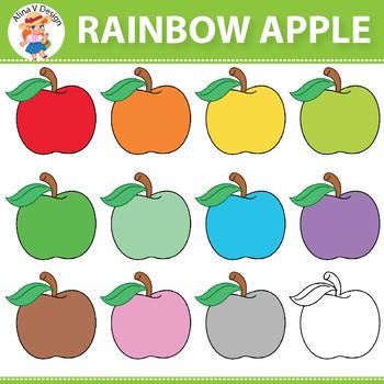 Rainbow Apple Clipart