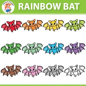 Rainbow Bat Clipart