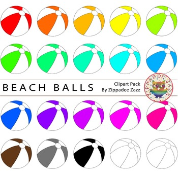 {50% OFF} Rainbow Beach Balls and Line art Clipart - 20 images