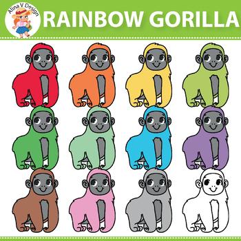 Rainbow Gorilla Clipart