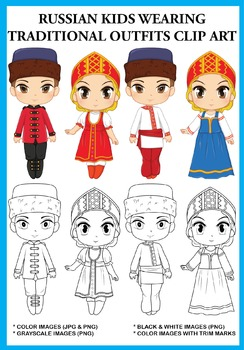 Russian Kids wearing Traditional Outfits Clip Art