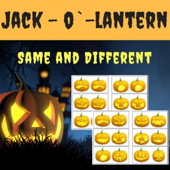 Same or Different - Halloween Sorting Activity, Jack-o`-lantern