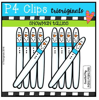 Snowman Tallies (P4 Clips Trioriginals Digital Clip Art)