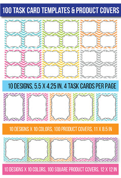 100 Task Card & Product Frames Set 1, Digital Clip Art Frames