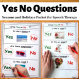 Yes/No Questions Bundle - Seasons & Holidays, Autism Worksheets