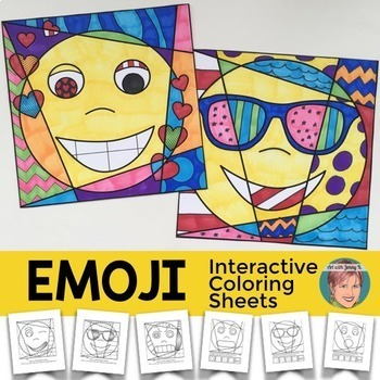 Emoji Interactive and Pattern Filled Coloring Pages + Writ