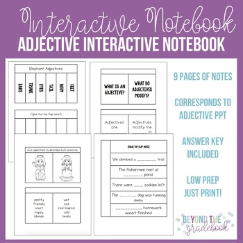 Adjective Interactive Notebook PPT Companion