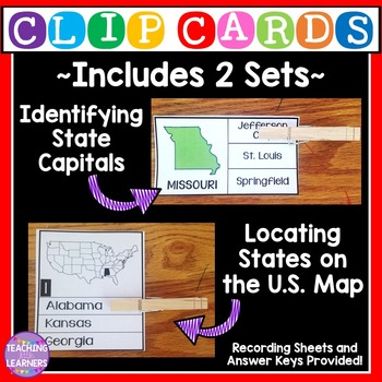 50 States Clip Cards