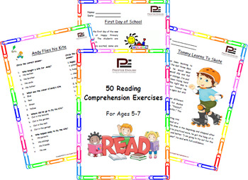"""""""50 Reading Comprehension Exercises for Ages 5-7 """" SAMPLE"""