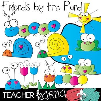 Animal Friends by the Pond Clipart ~ Commercial Use OK ~ C