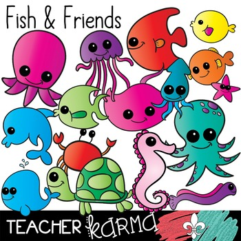Fish & Friends Clipart ~ Ocean ~ Turtle ~ Octopus ~ Seahorse