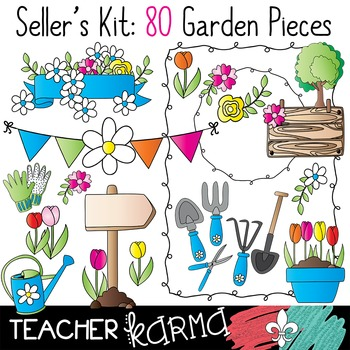 Seller's Kit: Garden Clipart * Papers * Buntings * Frames