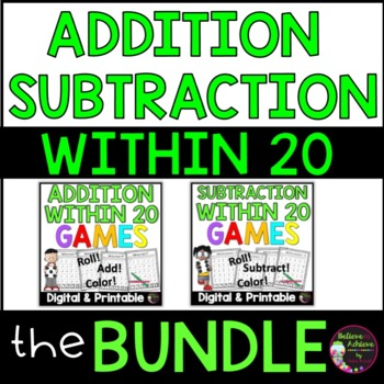 Addition/Subtraction Games Bundle (Facts to 20)