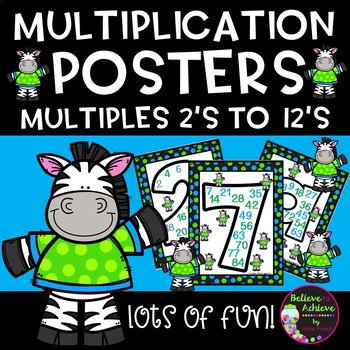 Multiplication Posters with Multiples 2's to 12's