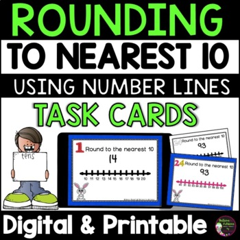 Rounding to nearest 10 (using Number lines) Cards