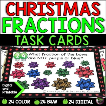 Fraction Task Cards (Parts of a Set- Christmas)