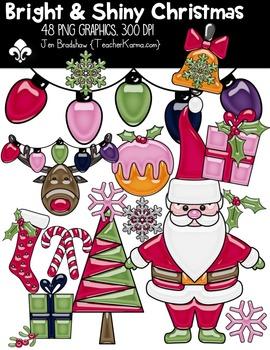 Bright & Shiny SANTA Christmas Clipart ~ Commercial OK ~ Winter