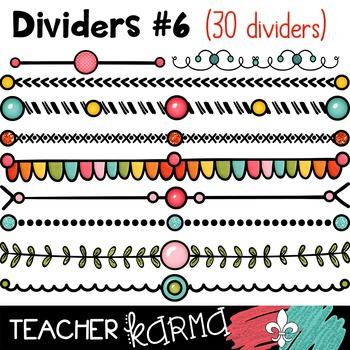 Dividers #6 (pink, teal, green, yellow & orange)