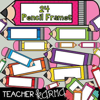 Pencil & Colored Pencil FRAMES!  ** Ombre & Polka Dots **
