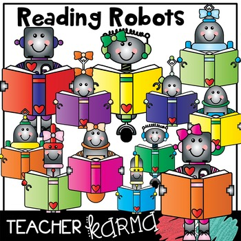 Reading Robots with Books Clipart
